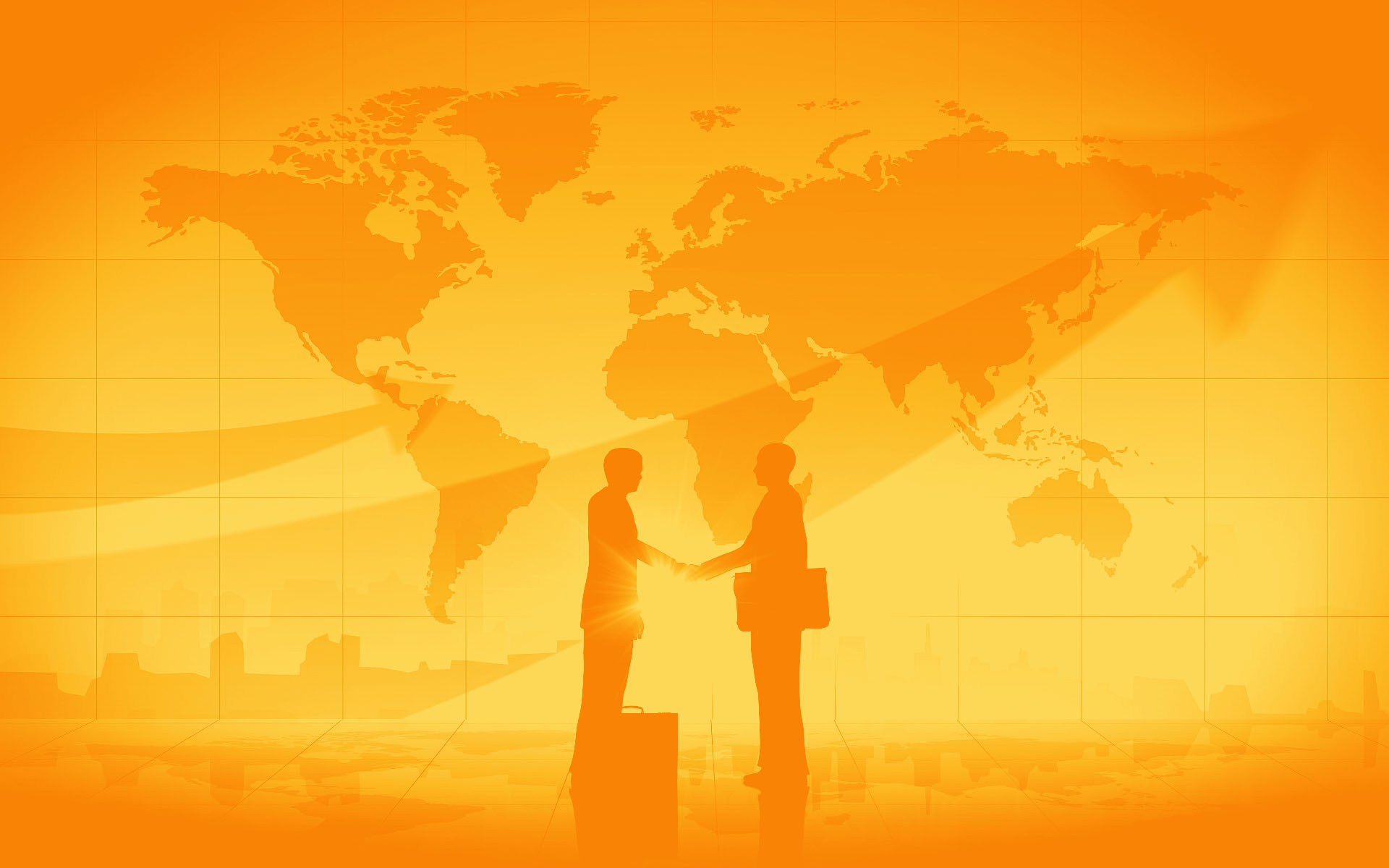 Business-Man-Shake-Hand-Silhouettes-City-World-Map